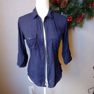 James Perse Navy Blue Button down Top M